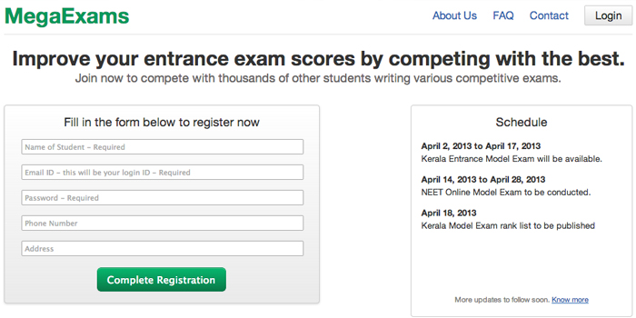 Online mock entrance exam portal for students