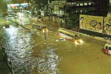 The flooded Thampanoor area during the recent summer rain. Photo Credits : Deccan Chronicle